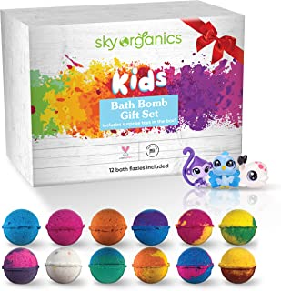 Kids Bath Bombs Gift Set with Surprise Toys (Loose in Box), 12 x 3.2oz Fun Assorted Colored Bath Fizzies, Kid Safe, Gender...