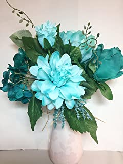 Multi -Toned Teal & ICY Mint Bouquet with Dahlia, Rose, Peony & Phlox, Bride, Vase, Arrangement, Tabletop, DIY Projects, O...