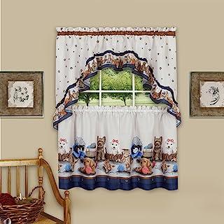 "Achim Home Furnishings Precious Printed Tier and Swag Window Curtain Set, 57"" x 36"", Navy"