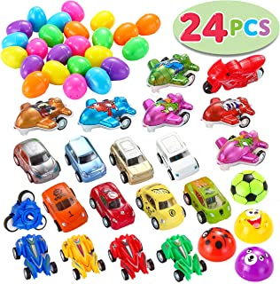 JOYIN 24 PCs Filled Easter Eggs with Toy Cars, 2.25