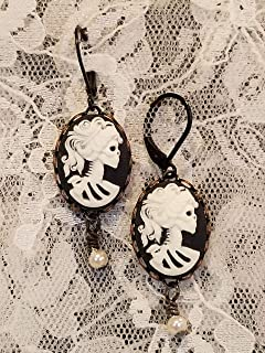 Halloween Spooky Gothic Skeleton Lady Black and White Cameo Dangle Earrings