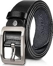 Men's belt, OVENERSIN Genuine Leather Causal Dress Belt for Men with Classic Single Prong Buckle