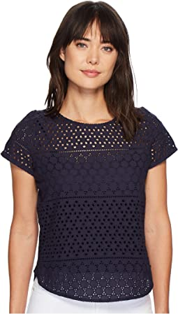 Joules - Nadine Broderie Front/Jersey Back Top