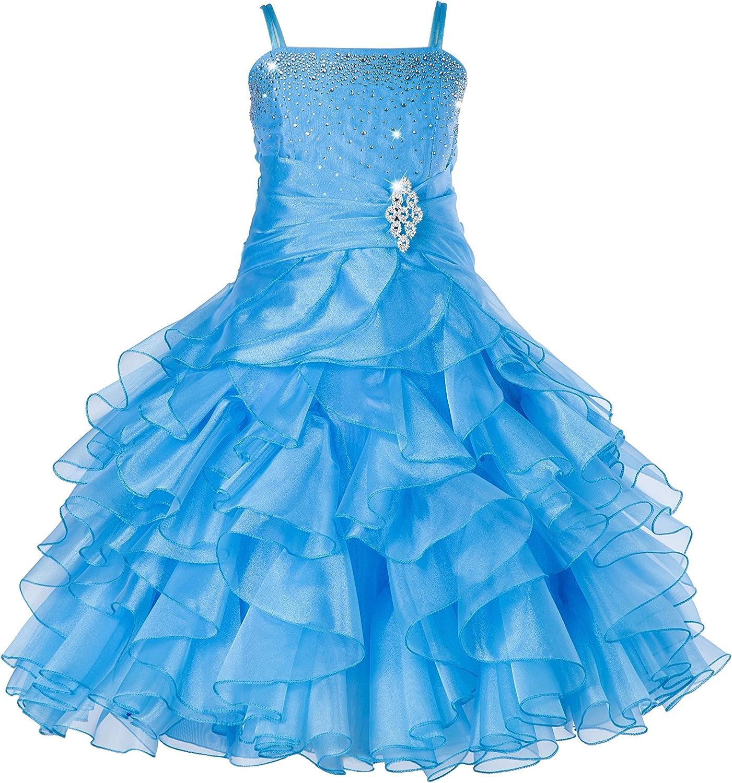 ekidsbridal Wedding Asymmetric Ruffles Satin Organza Flower Girl Dress Sequin 012s