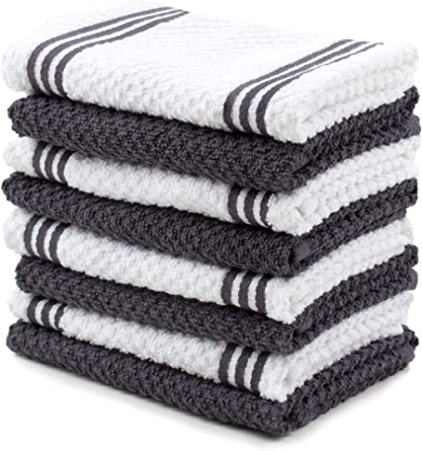 Sticky Toffee Cotton Terry Kitchen Dishcloths Towels, 8 Pack, 12 in x 12 in, Gray Stripe