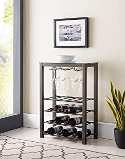 Kings Brand Furniture – Calhan Free Standing Wine Rack Storage Table with Glass Holder