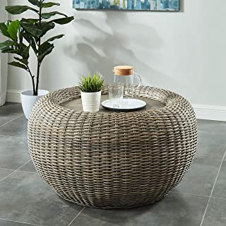 Bali Ii Kubu Rattan Round Coffee Table Brown Casual Modern Contemporary Transitional Wood Natural Finish