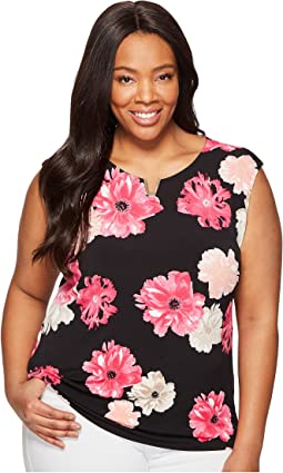 Plus Size Printed Extended Shoulder with Hardware