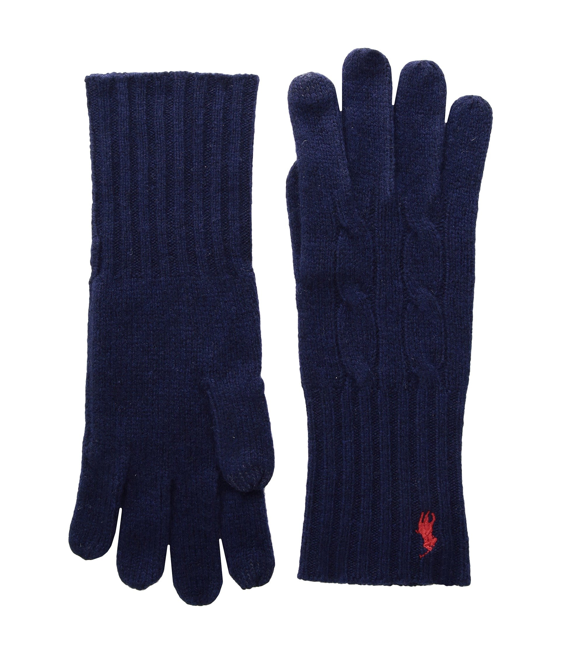 Cashmere Blend Classic Cable Knit Gloves, BRIGHT NAVY