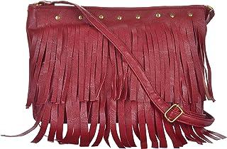 Young & Forever Maroon Tassel Sling Bags for Women Multipocket Multi Compartment Shoulder Bag for Girls