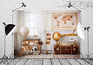 BELECO 7x5ft Suitcase Backdrop Interior Children's Room in Style of Travel and Tourism Photography Backdrop for Globe Party Traveler and Pilot Play Photoshoot Photo Background Props