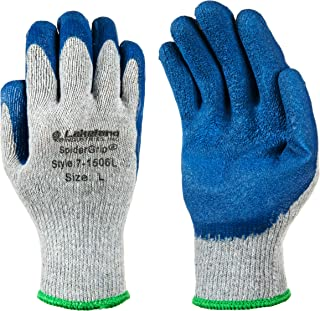Lakeland SpiderGrip 7-1506 Dipped Latex Coated Palm, Slip Resistant, Knit Work Glove, Grip, Large, Grey/Blue (12 Pair)