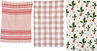 Creative Co-op Red & White Radish (Set of 3 Patterns) Tea Towels, Red