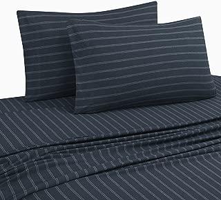 DELANNA Jersey Knit Sheet Set Soft Breathable T-Shirt Weave (Navy Stripe, Full)