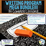Writing Program Mega Bundle – Complete Writing Lessons Resource Program 35 Lessons – each Activity comes with a PowerPoint, Worksheets, Lesson Plan, and Google Classroom Links – High School
