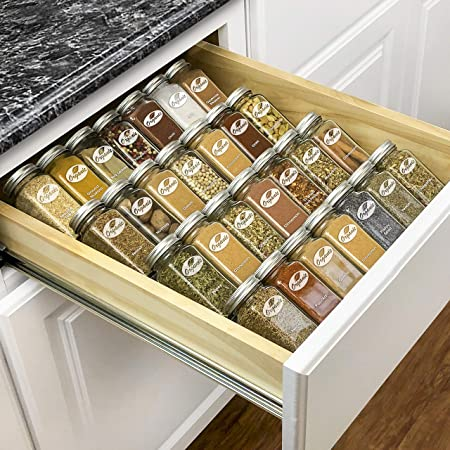 """Lynk Professional Spice Rack Tray-Heavy Gauge Steel 4 Tier Drawer Organizer for Kitchen Cabinets, 13-1/4"""" Large, Silver Metallic"""