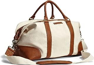 Unisex Weekender Duffle Shoulder Bag With Detachable Strap Plain Natural Crème Brown