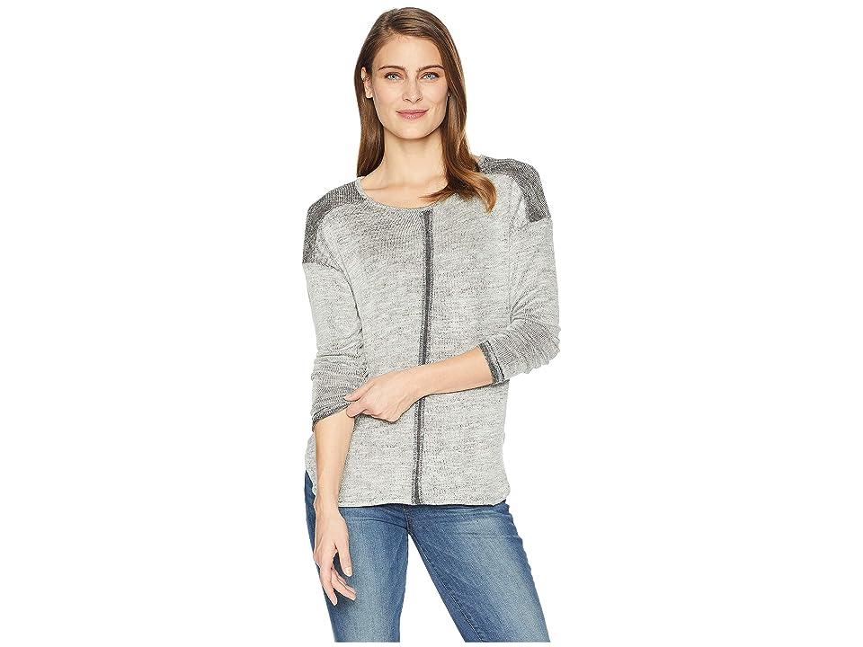 Tribal Long Sleeve Drop Shoulder Knit Top (Grey) Women's Long Sleeve Pullover