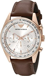 Emporio Armani Men's AR5995 Brown Leather Strap Silver Dial Watch