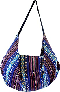 Large Aztec Yoga Convertible Crossbody Backpack Thai Cotton Hippie Hobo Sling Shoulder Bag