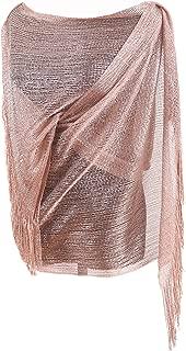 Womens Wedding Evening Wrap Shawl Glitter Metallic Prom Party Scarf with Fringe