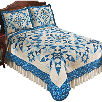 Green-Blue Paisley Floral Outline Star Patchwork Quilt Reversible Twin Machine Wash Shams Sold Separately Richly Colored Cover Full//Queen King Polyester Imported