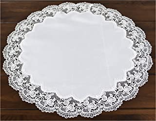Linens, Art and Things Round Antique Royal Rose European White Jacquard Lace Table Top Centerpiece 23 Inch Approx Doily Placemat