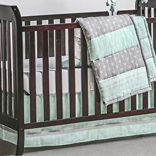 Mint Green and Grey Arrow Stripe 3 Piece Crib Bedding Set by The Peanut Shell