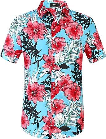 SSLR Camisa Manga Corta con Estampado de Flamencos Estilo Hawaiana de Hombre