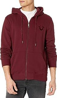 True Religion Men's Horseshoe Arch Logo Long Sleeve Zip Up Hoodie Hooded Sweatshirt