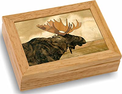 MarqART Moose Wood Art Gift Trinket Box & Jewelry Boxes - Handmade USA - Unmatched Quality - Unique, No Two are The Same - Original Work of Wood Art (#4122 Moose Head 4x5x1.5)