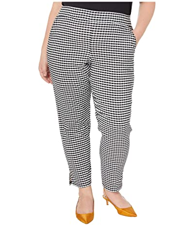 HUE Plus Size Small Plaid Temp Tech Trouser Leggings (Black/Gingham) Women