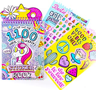 Just My Style 1100 Vinyl Sticker Book by Horizon Group USA. Sparkly Spiral Bound Book With Positivity Quotes, Tie Dye Stic...