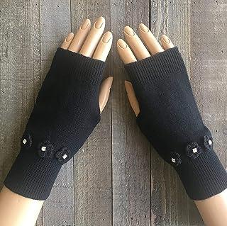 Knit Fingerless Gloves Women Black Skull Rhinestone Wool Arm Warmers Winter Mittens Hand Warmers White Handmade Christmas Stocking Stuffers