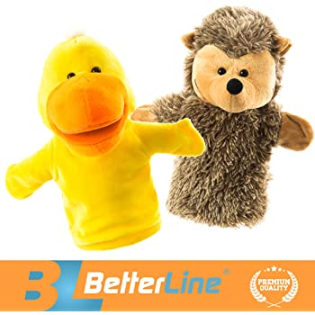 """BETTERLINE Animal Hand Puppets Set of 2 Premium Quality, 24 cm (9.5"""" Inch) Soft Plush Hand Puppets For Kids Perfect For Storytelling, Teaching,"""