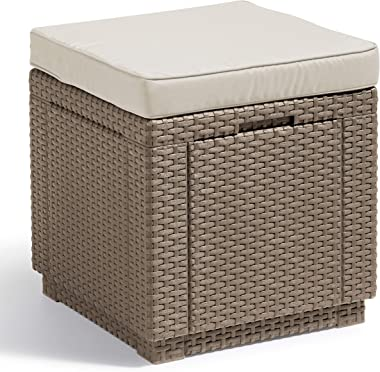 ALLIBERT Cube w Tabouret, Cappuccino/Sable (Polycoton Cushion)
