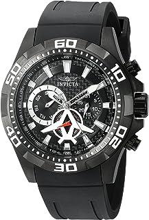 Invicta Men's 'Aviator' Quartz Stainless Steel and Polyurethane Watch, Color:Black (Model: 21741)