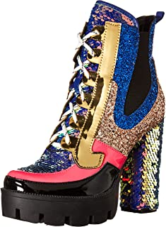 Cape Robbin Nell Gold Glitter Platform Chelsea Ankle Boots with Chunky Block Heels for Women Featuring a Sequined Tongue a...