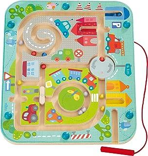 Haba 301056 - Magneetspel stadslabyrinth, educatief houten speelgoed voor kinderen vanaf 2 jaar, traint logica en fijne mo...