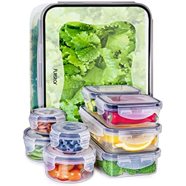 Food Storage Containers with Lids - Plastic Food Containers with Lids - Plastic Containers with Lids Storage - Meal Prep Containers with Lids Kitchen Storage Containers Lunch Containers (9-Pack)