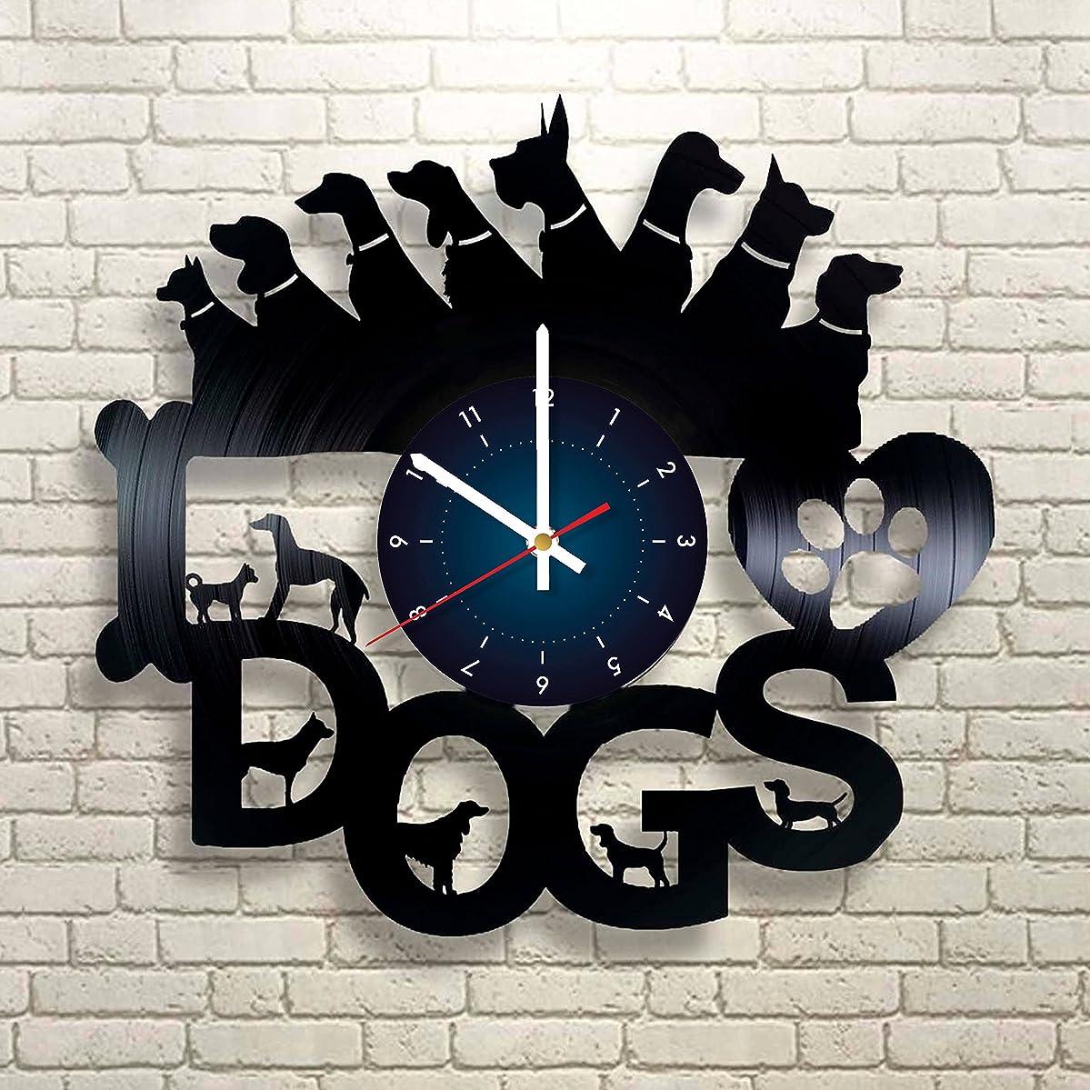DOGS Vinyl Record Wall Clock - Kids Room wall decor - Gift ideas for kids, girls, boys, teens - Cartoon Unique Art Design