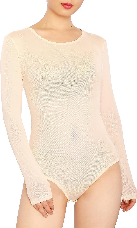 May&Maya Women's Sexy Sheer Mesh Long Sleeve Bodysuit