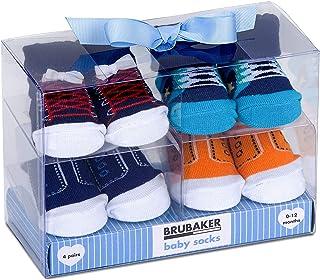 BRUBAKER 4 Pares de Calcetines de Bebé Niños 0-12 Meses - Zapatillas - en Caja Regalo