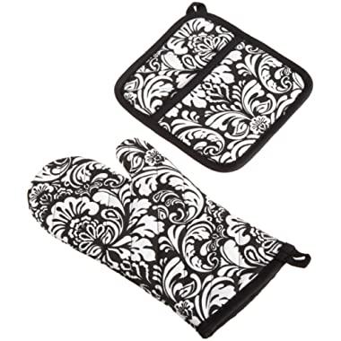 DII Cotton Damask Oven Mitt 12 x 6.5  and Pot Holder 8.5 x 8  Kitchen Gift Set, Machine Washable and Heat Resistant for Cooking and Baking-Black