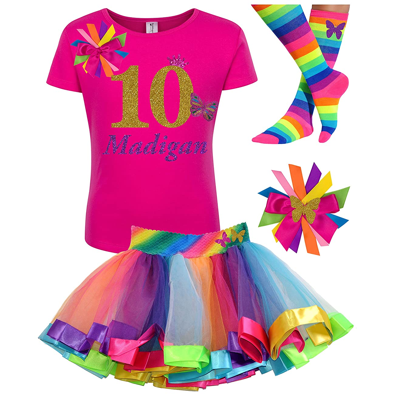 10th Birthday Girl Butterfly Outfit Gold 10 Pink Shirt Rainbow Party Gift Set Personalized Name
