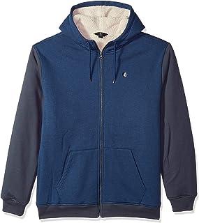 Volcom Men's Single Stone Lined Zip up Fleece Hooded Sweatshirt, Matured Blue, Large 海外卖家直邮