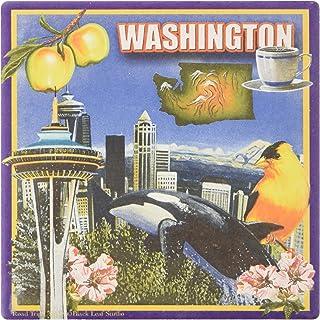 "CoasterStone SQ068 CoasterStone Absorent CoasterStner، 4-1/4 بوصة، ""Washington""، مجموعة من 4"