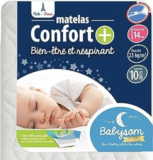 Babysom - Babymadrass komfort | Barnmadrass 60 x 120 cm – andas – avtagbart överdrag – luftgenomsläppligt kallt skum – tes...