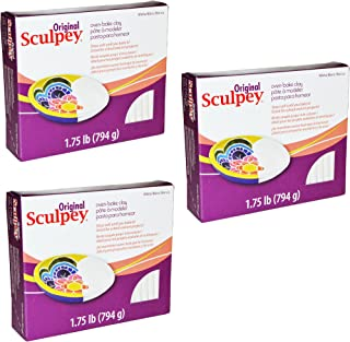 Original Sculpey Sculpturing Compound White Oven-Bake Clay - for School and Art Projects - 1.75 Pound, Pack of 3