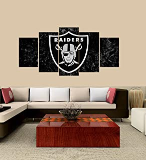 PEACOCK JEWELS [Medium] Premium Quality Canvas Printed Wall Art Poster 5 Pieces / 5 Panel Wall Decor Oakland Raiders Painting, Home Decor Pictures - with Wooden Frame